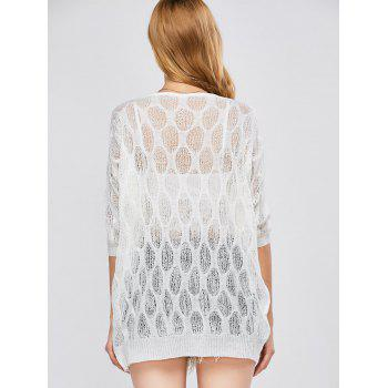 Batwing Sleeve Sheer Tunic Beach Cover-Up - WHITE WHITE