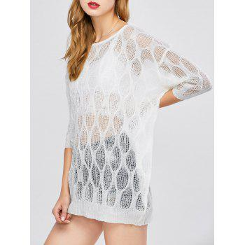 Batwing Sleeve Sheer Tunic Beach Cover-Up - WHITE ONE SIZE