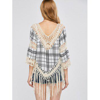 Plaid Tassel Crochet Cover-Up - ONE SIZE ONE SIZE