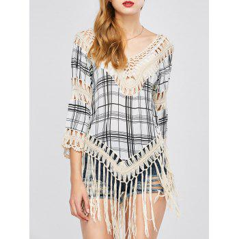 Plaid Tassel Crochet Cover-Up - APRICOT ONE SIZE