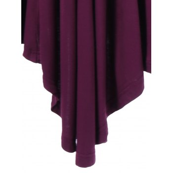 Plus Size Pleated Asymmetric Longline T-Shirt - PURPLISH RED PURPLISH RED