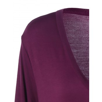 Plus Size Pleated Asymmetric Longline T-Shirt - PURPLISH RED 3XL