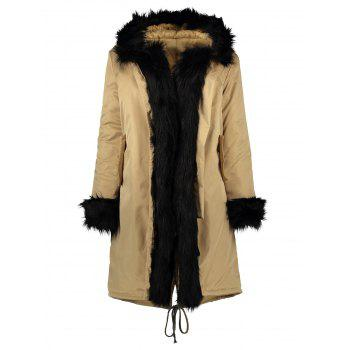 Buy Hooded Anorak Jacket Faux Fur Trim KHAKI