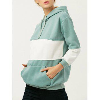 Buy Hooded Color Block Drawstring Hoodie GREEN