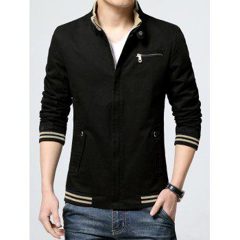Pocket Striped Rib Insert Zippered Jacket - BLACK XL