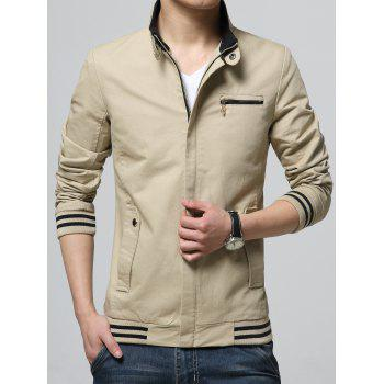 Pocket Striped Rib Insert Zippered Jacket - KHAKI M