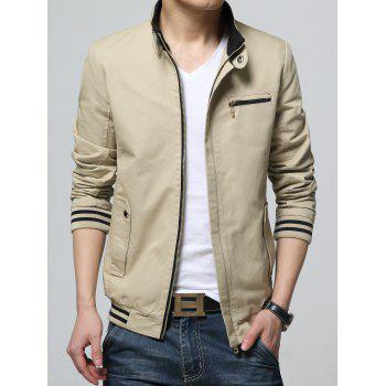 Pocket Striped Rib Insert Zippered Jacket - M M