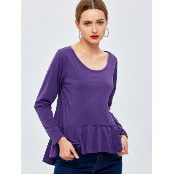 Long Sleeve Peplum Tee - PURPLE PURPLE