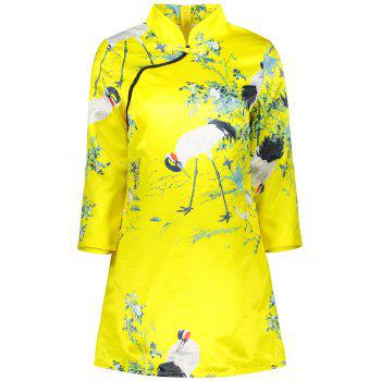 Crane Paint Sheath  Cheongsam
