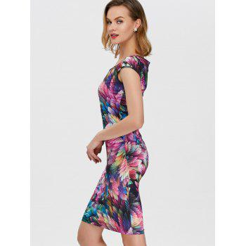 Square Neck Feather Printed Dress - COLORFUL COLORFUL