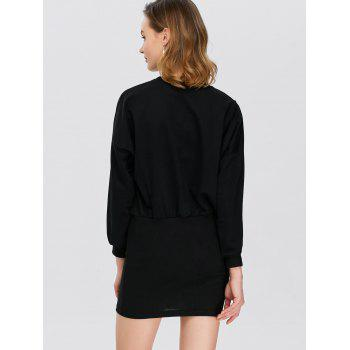 Hollow Out Puff Sleeves Bodycon Dress - BLACK BLACK