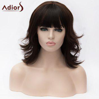 Adiors Full Bang Medium Layered Colormix Tail Upwards Synthetic Wig - DARK COFFEE DARK COFFEE