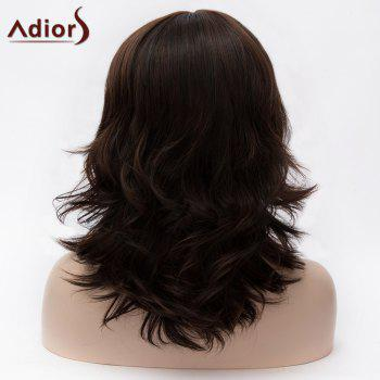 Adiors Full Bang Medium Layered Colormix Tail Upwards Synthetic Wig -  DARK COFFEE