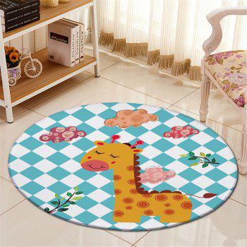 Giraffe Plaid Pattern Antislip Floor Round Carpet - COLORMIX COLORMIX