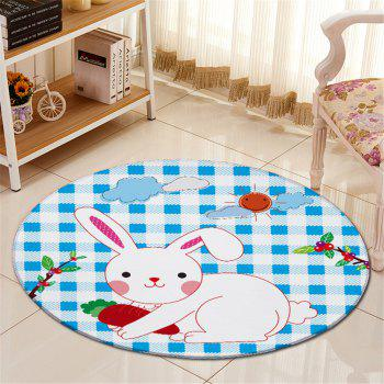 Rabbit Plaid Pattern Antislip Floor Round Carpet