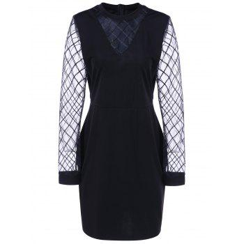 Buy Plus Size Grid Mesh Insert Sheath Dres BLACK