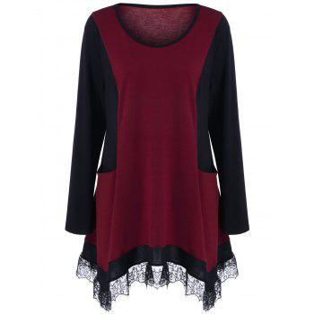 Plus Size Lace Panel Tunic T-Shirt - BLACK AND RED BLACK/RED
