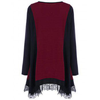 Plus Size Lace Panel Tunic T-Shirt - BLACK/RED XL