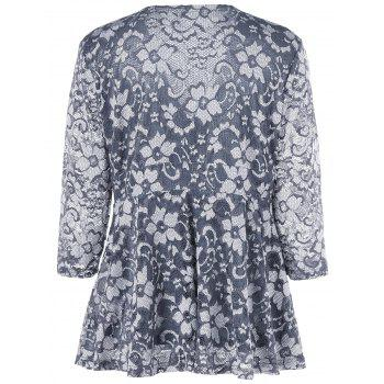 Plus Size Floral Lace Blouse - BLUE GRAY 5XL