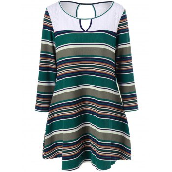 Plus Size Keyhole Striped Longline T-Shirt - COLORMIX 2XL
