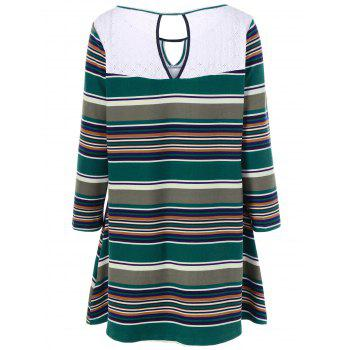 Plus Size Keyhole Striped Longline T-Shirt - 2XL 2XL