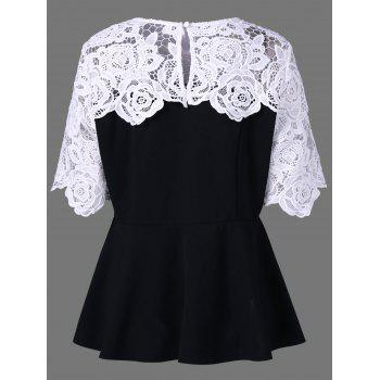 Plus Size Lace Insert Peplum Top - XL XL