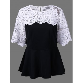Plus Size Lace Insert Peplum Top - WHITE AND BLACK 3XL