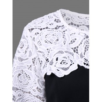 Plus Size Lace Insert Peplum Top - WHITE/BLACK 5XL