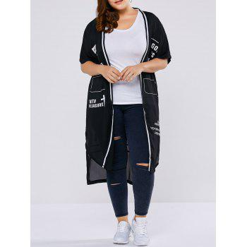 Plus Size Letter Print Asymmetrical Duster Coat
