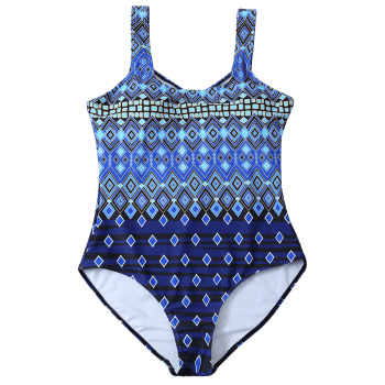 Crosscriss Printed Plus Size One-Piece Swimwear - BLUE BLUE