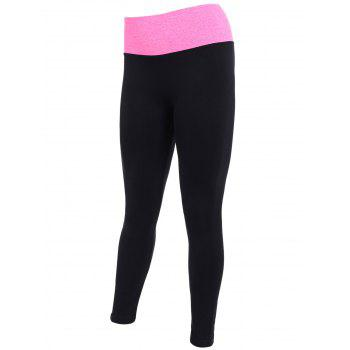 Tight Fit Sports Running Leggings - BLACK/ROSE RED L