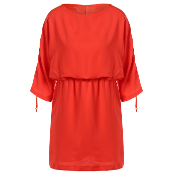 Round Neck Drawstring Sleeve Dress