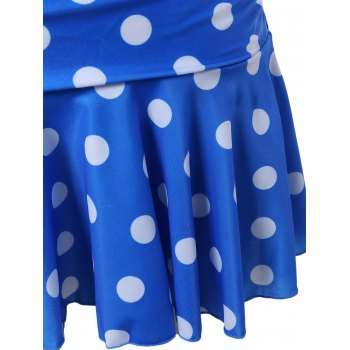 Polka Dot Skirted Underwire Tankini with Ruffles - BLUE M