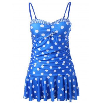 Polka Dot Skirted Underwire Tankini with Ruffles - BLUE BLUE