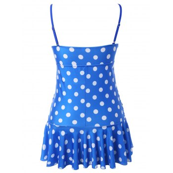Polka Dot Skirted Underwire Tankini with Ruffles - M M