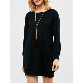 Raglan Long Sleeve Mini Dress - BLACK S