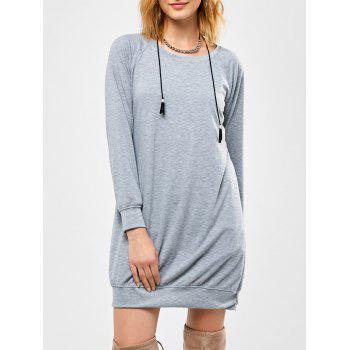 Raglan Long Sleeve Mini Dress - GRAY S