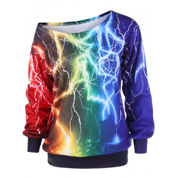 Lightning Print Skew Collar Sweatshirt - COLORMIX L
