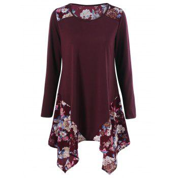 Floral Print Asymmetric Tunic T-Shirt - WINE RED WINE RED