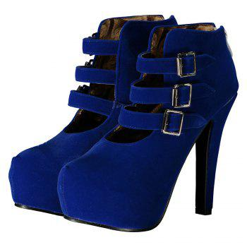 Trendy Flock and Buckles Design Women's Ankle Boots - DEEP BLUE 39