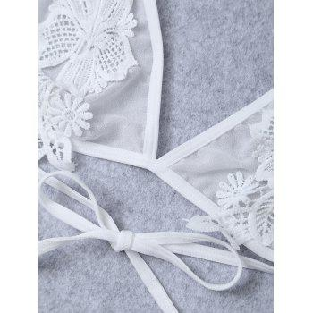 Crochet Floral Transparent Applique Sheer Mesh Bra - ONE SIZE ONE SIZE