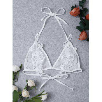 Crochet Floral Transparent Applique Sheer Mesh Bra - WHITE ONE SIZE