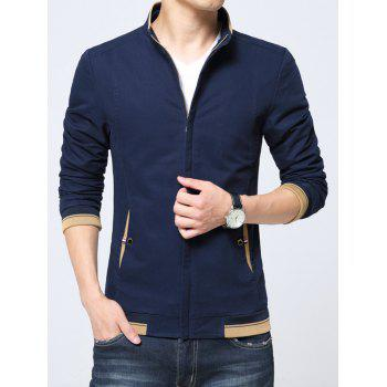 Zip Up Pocket Contrast Trim Jacket - CADETBLUE 4XL