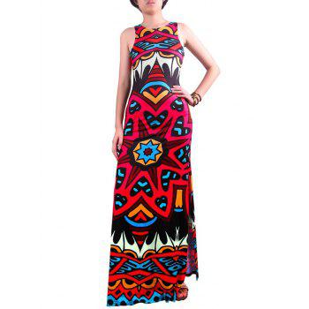 Geometric Print Cut Out Sleeveless Maxi Dress