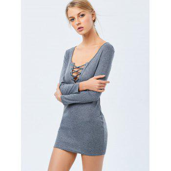 Lace Up Long Sleeve Casual Fitted Dress - GRAY XL