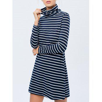 Stripe Long Sleeve A Line Mini Dress