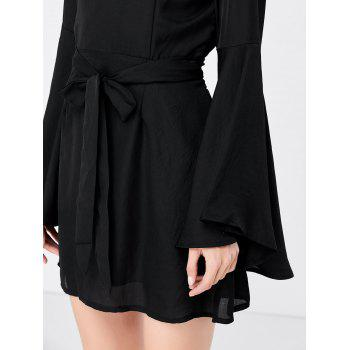 Long Flare Sleeve Backless A Line Dress - L L