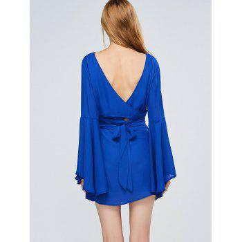 Long Flare Sleeve Backless A Line Dress - BLUE L