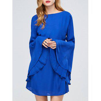 Long Flare Sleeve Backless A Line Dress
