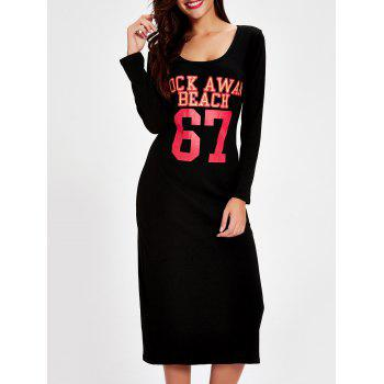 Letter Graphic Slit Long Sleeve Dress - BLACK BLACK
